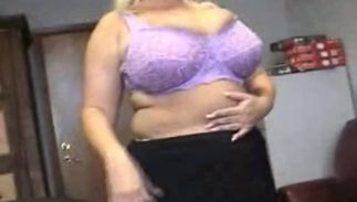 Worshipped blond Samantha 38G with round tits cums hard while being banged in all holes