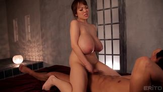 Beguiling girlie Hitomi Tanaka with attractive tits enjoys sucking a large white boner