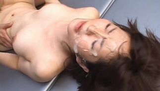 Pretty bombshell Miku Ohashi with massive tits diligently pleasing her man's enormous pecker