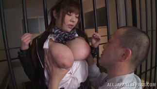 Delightsome Ran Niiyama with great tits sucking her fellow's erect hard fuck stick well