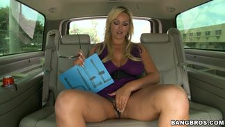 Awesome bosomed Abbey Brooks swallows hard wood like a pro