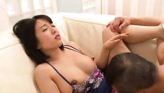 Perfect astounding Sayuri with round tits loves to rub her lucky stranger