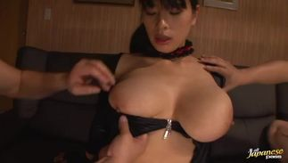 Nasty breasty sweetie Hana Haruna is getting fucked in the wet pussy while lying
