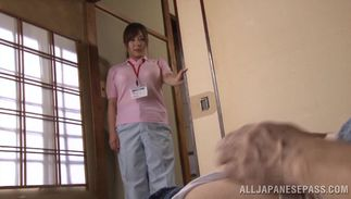 Tasty sweetie Ran Niiyama with round bazookas got an suggest from a playmate to fuck him hard