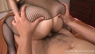 Mouthwatering beauty Rui Tsukimoto with giant tits shows her cherry to a hunk