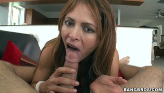 Lovely busty latin chick Monique Fuentes chokes on a dangler previous to being banged