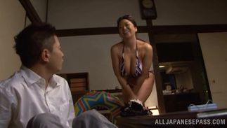 Dissolute big breasted cutie Natsuko Kayama receives a large dong in her tight twat