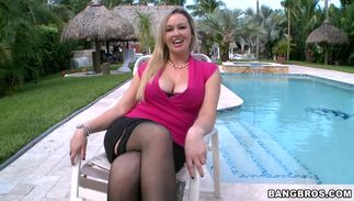 Dishy woman Abbey Brooks with huge tits rides a large knob wildly