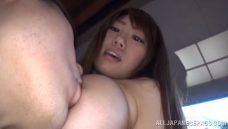 Horny breasty beauty Chisa Hoshino adores the slow love making sessions