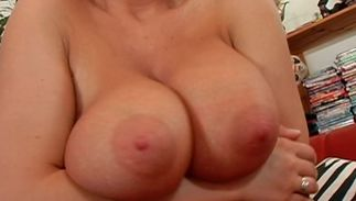 Elegant blond bombshell Jessica Moore with round tits is getting her tight cherry pleasured doggystyle