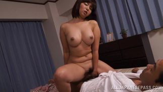 Savory busty hottie Kaori spread her legs wide open for a hunk and got fucked