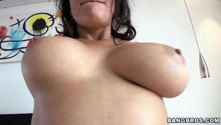 Ambitious Juliana with big natural tits cant hold back from sucking a rock hard tool and getting fucked hard