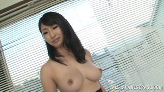 Cute busty lady Marina Shiina has wet pussy reaches a huge large o