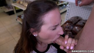 Racy brown-haired lady Ashley Adams with impressive natural tits loves teasing her quim previous to sucking dong