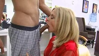 Sexual blond Nina Hartley with round tits is avid to suck love rocket