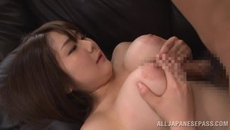 Swingeing minx Homare Momono with large tits impales her slender cunny on the stiff prick
