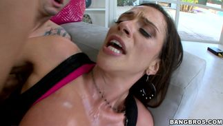 Sweet dark-haired bombshell Ariella Ferrera with firm tits gets smashed hard and fast on bed