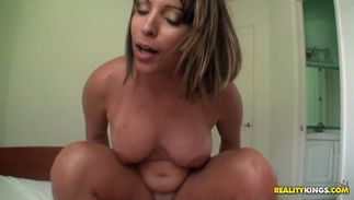 Beguiling latin brown-haired Victoria Sky with round mambos sucks a boyfriend's chopper while being fingered