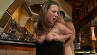 Lusty busty golden-haired lady Tessa Lane is getting banged hard on the daybed