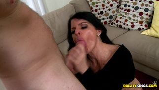 Beautiful big boobed Jade Steele gladly offers her pie to a dude