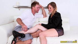 Prurient big boobed blond Samantha Sheridan is drilled by the long dangler