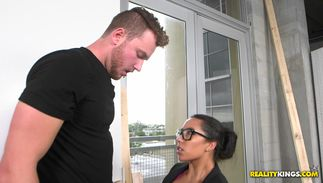 Man fiercely impales lovable Priya Price with biggest tits on his throbbing tool