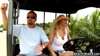 Stupendous golden-haired darling Julia Ann with large tits eagerly strips for the guy's schlong