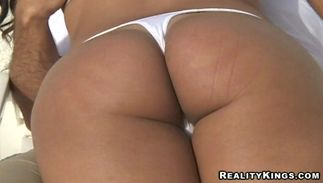 Lascivious latin brunette babe Natashia with big tits giving great blowjob before cave insertion