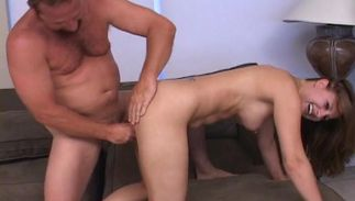 Playful bitch Taylor with handsome tits came home from work and got fucked from the back