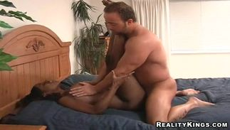 Inviting diva Meka with firm titties gets doggystyle fucking