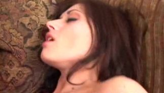 Raunchy big boobed brown-haired bimbo Dillan loudly takes a hard fuck stick from behind