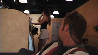 Boner loving wanton busty brunette chick Gema is sucking a love rocket while getting fucked from the back