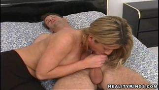 Lascivious bosomed blond Molly loves being doggy styled by experienced fuckmate
